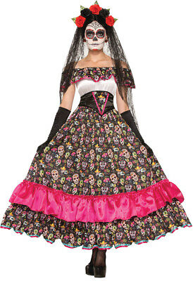 Day Of Dead Spanish Lady Costume Sugar Skull Printed Skirt Halloween Fancy - Sugar Skull Lady Kostüm