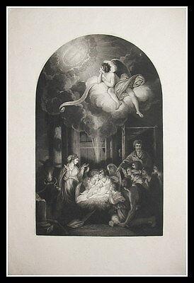 c1840 Weihnachten Christmas Geburt Jesu im Stall Aquatinta-Radierung