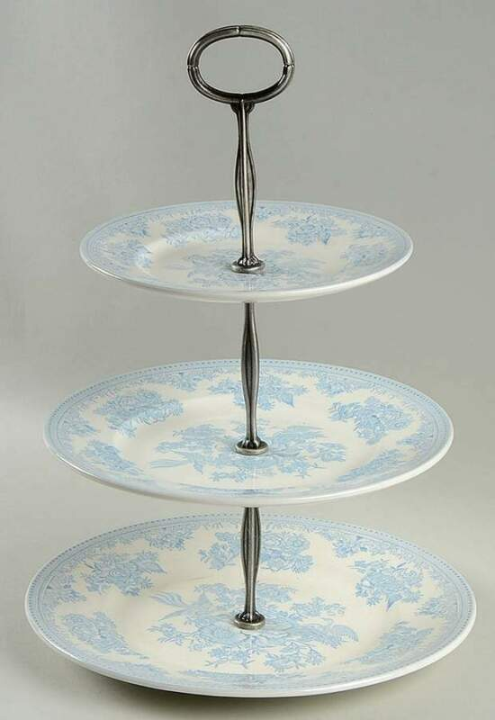 Burgess & Leigh Asiatic Pheasants Blue 3 Tiered Serving Tray 10962623