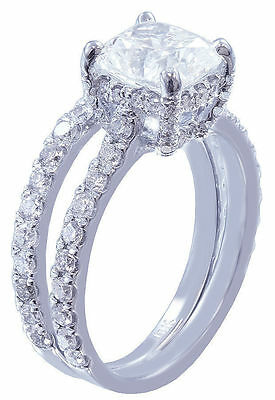 GIA I-SI1 18k Whtie Gold Cushion Cut Diamond Engagement Ring And Band 2.20ctw 11