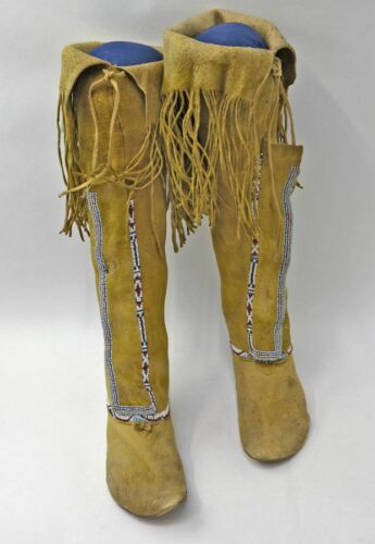 19th Century Comanche High Top Moccasins; Yellow Ochre, Fringes, Beadwork