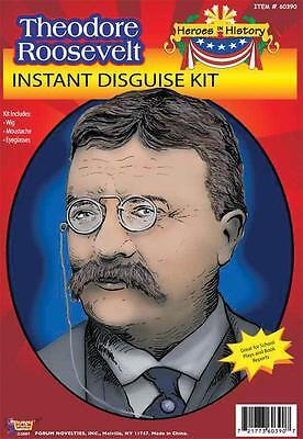 TEDDY THEODORE ROOSEVELT COSTUME KIT WG MOUSTACHE GLASSES FM60390 (Theodore Roosevelt Costume)