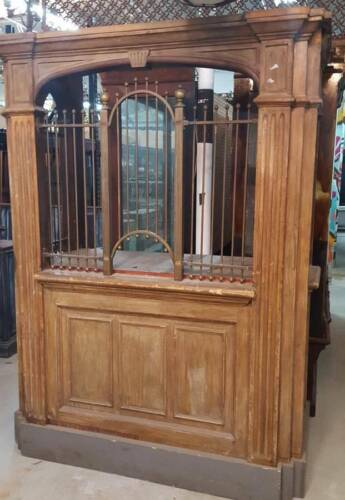 Antique Wood & Bronze Bank Tellers Booth