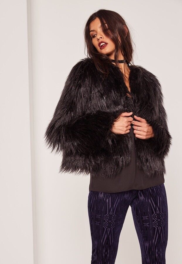 ff7bdea1099 Black shaggy faux fur jacket coat