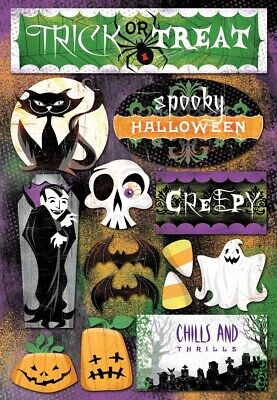 Scrapbooking Crafts KF Stickers Trick or Treat Spooky Halloween Vampire Ghost  - Halloween Ghost Trick Or Treat