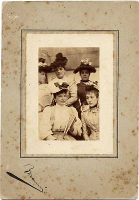 Rome Nice portrait of five women Fashion Vintage collodion photo 1900c Marini
