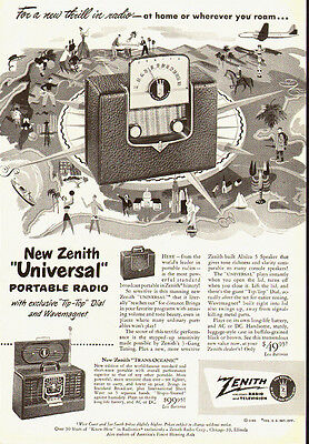 1950 vintage Ad, ZENITH 'Universal' Portable radio and Trans-Oceanic  -021014