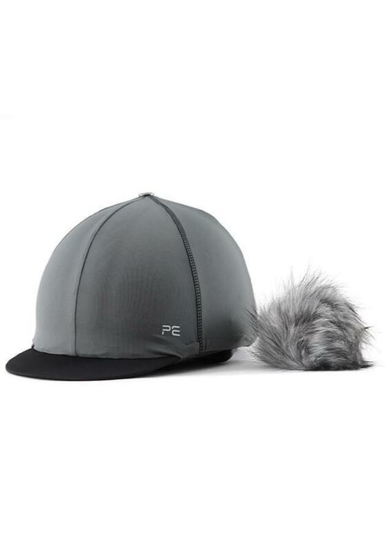Premier Equine PEI Jersey Hat Silk with faux fur pom pom - charcoal grey Premier