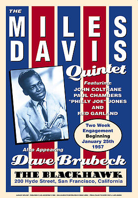 Jazz Trumpet: Miles Davis at  The BlackHawk Concert Poster 1959