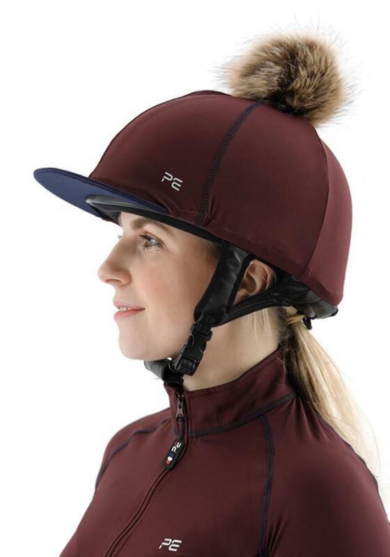 Premier Equine PEI Jersey Hat Silk with faux fur pom pom - wine/navy Premier Equ