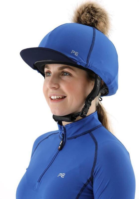 Premier Equine PEI Jersey Hat Silk with faux fur pom pom - royal/navy Premier Eq
