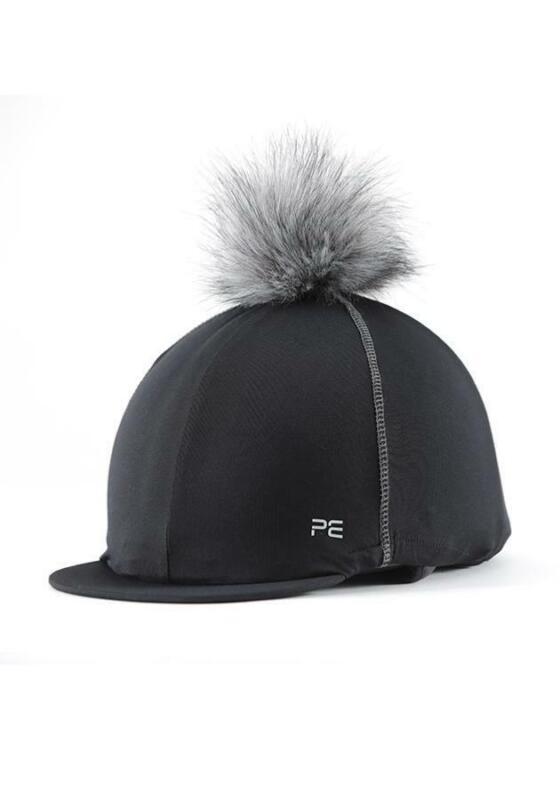 Premier Equine PEI Jersey Hat Silk with faux fur pom pom black  Premier Equine