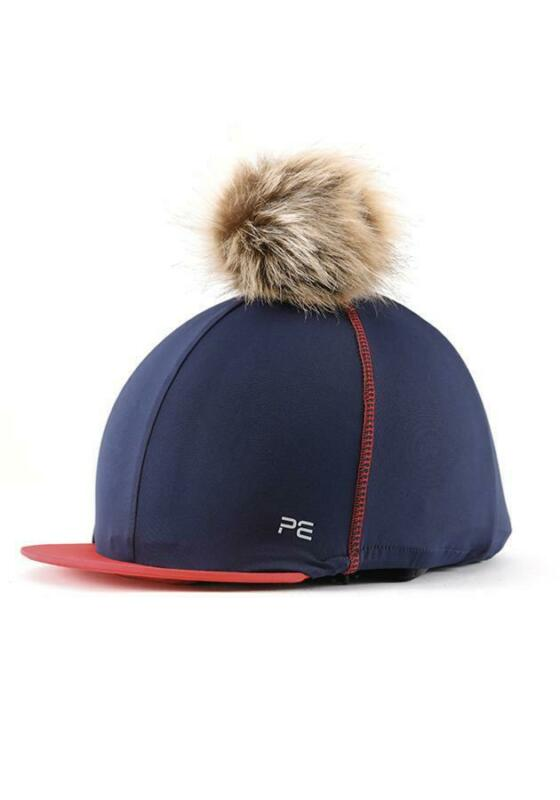 Premier Equine PEI Jersey Hat Silk with faux fur pom pom - navy/red Premier Equi