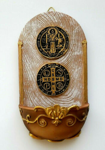 "Saint Benedict Holy Water Font 7"" x 3-5/8"""