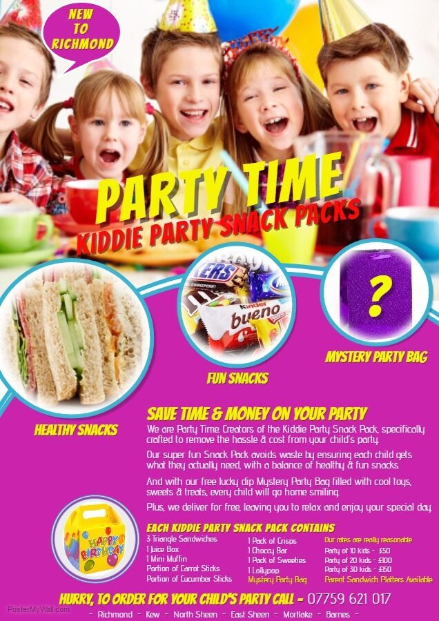 Kiddie Party Snack Packsin Richmond, LondonGumtree - We are Party Time. Creators of the Kiddie Party Snack Pack, specifically crafted to remove the hassle & cost from your childs party. Our super fun Snack Pack avoids waste by ensuring each child gets what they actually need, with a balance of healthy...