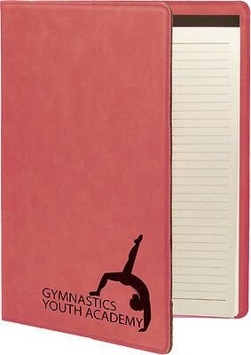 Personalized Portfolio Pink Leatherette Engraved Free Padfolio Journal Note Pad