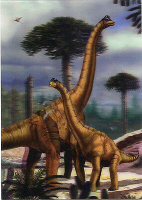 Brachiosaurus  -Dinosaur-Lenticular 3D Postcard - Greeting Card -  with juvenile