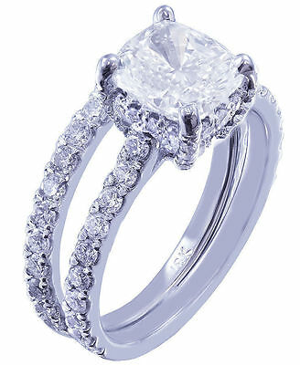 GIA I-SI1 18k Whtie Gold Cushion Cut Diamond Engagement Ring And Band 2.20ctw 4