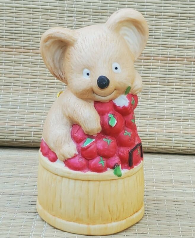 Vintage Jasco Koala Bear Teddy Apple Basket Critter Bell