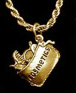 Cosmetics-skin-care-makeup-Gold-pltd-over-Sterling-Silver-Pendant-charm-Jewelry