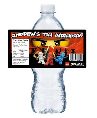 LEGO NINJAGO PERSONALIZED BIRTHDAY PARTY FAVORS ~ WATER BOTTLE LABELS WRAPPERS](Ninjago Party Supplies)