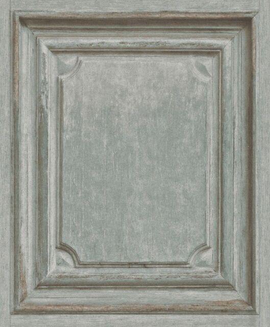 Wallpaper Rasch - Vintage Wood Panel - Faux Door Pattern - Green / Beige -524413