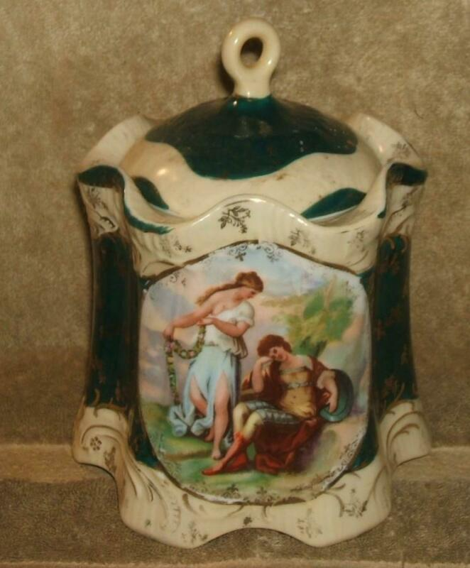 Circa 1891-1918 Victoria Carlsbad Austria Biscuit Jar Angelica Kauffman Painting
