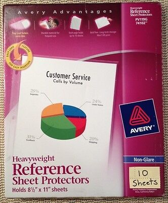 Qty 10 Avery 74102 Heavyweight Sheet Page Protectors Non-glare 3 Ring 8.5x11