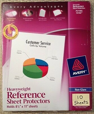 Qty 10 Avery 74401 Heavyweight Reference Page Sheet Protectors Non-glare