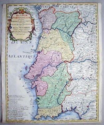 PORTUGAL-KARTE JOHANN BAPTIST HOMANN, 1736 NOLIN REGNUM PORTUGALLIAE MAP