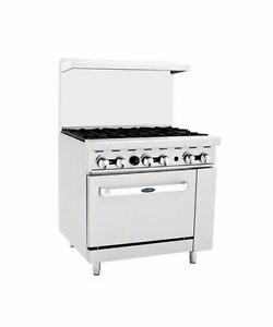 Restaurant Range 6 Burners with Oven Stainless Steel Body Natural Gas. Factory Prices Come and See