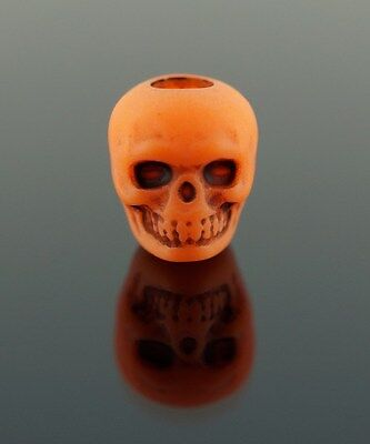 100 Plastic Orange Skull Pony Beads 10mm - Halloween, Goth, Day of The Dead ()
