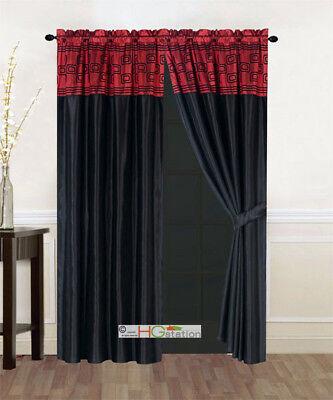 4P Satin Modern Chic Square Rectangle Striped Curtain Set Burgundy Black Valance ()