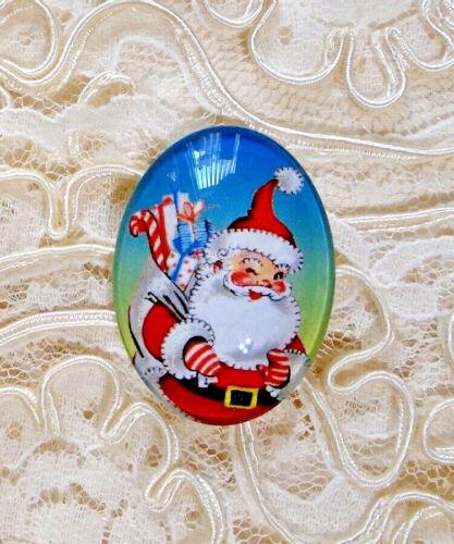 Retro Santa Claus 30X40mm Glitter Unset Handmade Glass Art Bubble Cameo Cabochon