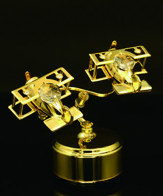 - SWAROVSKI CRYSTAL STUDDED DOUBLE BI-PLANE MECHANICAL MUSIC BOX 24K GOLD PLATED