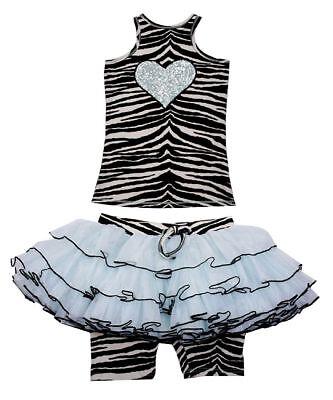 Couture Zebra - NWT Ooh La La Couture Zebra Top Sequin Heart Skort Set Girls sz 6