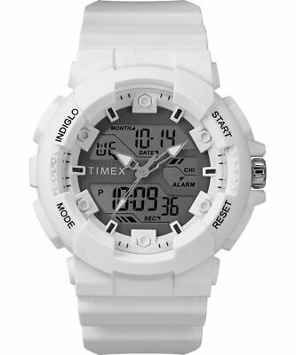 Timex Men's TW5M22400 The HQ Digital 50MM Resin White Strap Combo Indiglo Watch