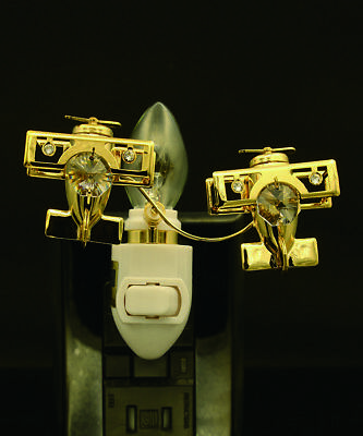 - 24K GOLD PLATED SWAROVSKI CRYSTAL STUDDED DOUBLE BI-PLANE NIGHT LIGHT UL LISTED