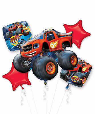 Blaze and Monster Machines Balloon Bouquet Boy Birthday Party Supplies 5pc TRUCK