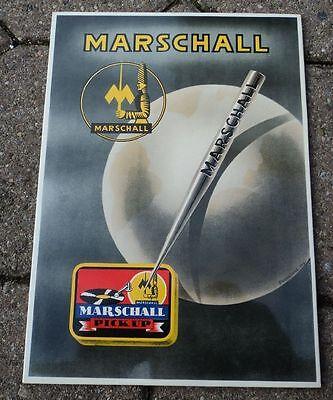 altes Pappschild Grammophon Nadeldose Marschall Marshall