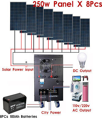 New 5KW Solar &Wind Power Generator System for 110v/220v Home Use Ship By Sea
