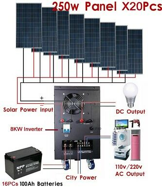 8KW Solar Power Generator System with Roof Frame for 110v 50hz Home Use By Sea