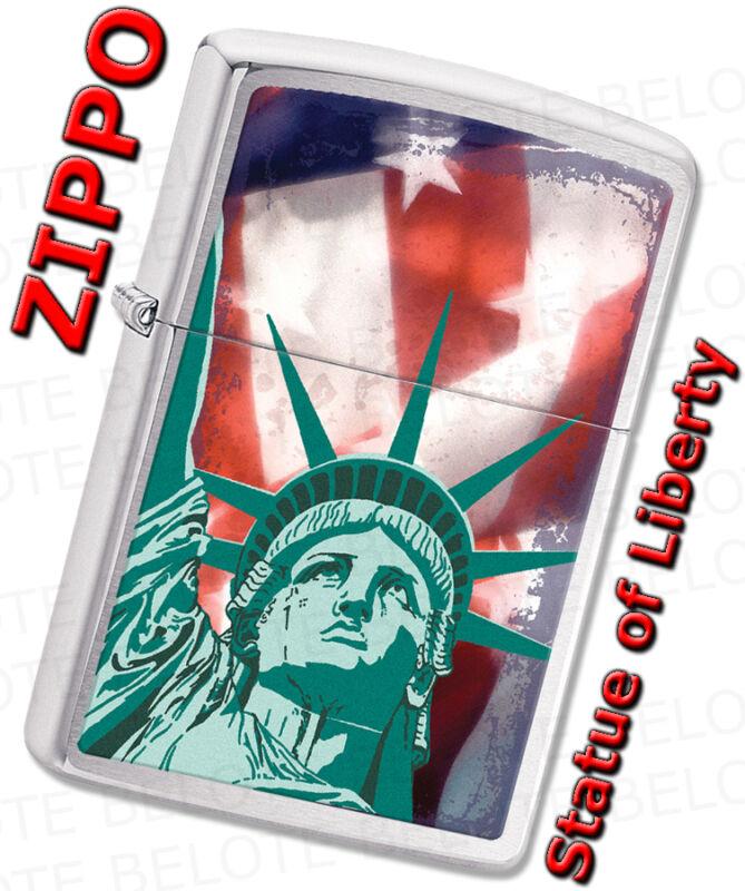 Zippo Statue of Liberty Flag Satin Chrome Windproof Lighter 28282 **NEW**