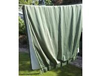 Green Satin Thermal Lined 'Cindy Crawford Style' Curtains
