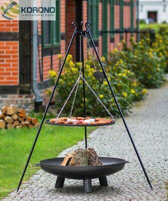 Dreibein Schwenkgrill mit Kurbel Rost 70 und Feuerschale Ø 80 im Set - Stahl