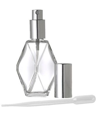 1 Refillable 2 OZ Perfume Atomizer Spray Pump Empty Glass Bottle Silver - Silver 2 Oz Spray Bottle