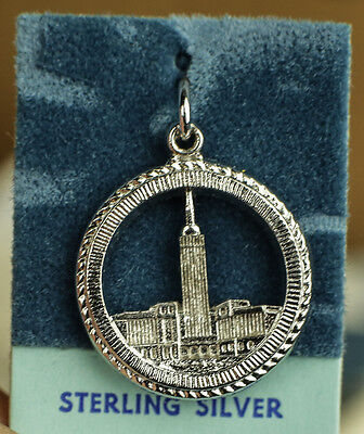 CLEVELAND TERMINAL TOWER .925 STERLING SILVER PENDANT/CHARM KENNY VINTAGE