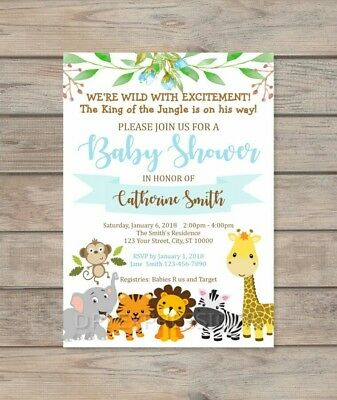Custom Jungle Safari Boy Baby Shower Invitation, Jungle Animals Invite Customized Baby Shower Invitations
