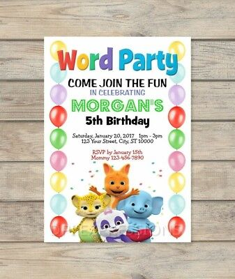 Word Party Invitation, Balloons Word Party Birthday Invite, Custom