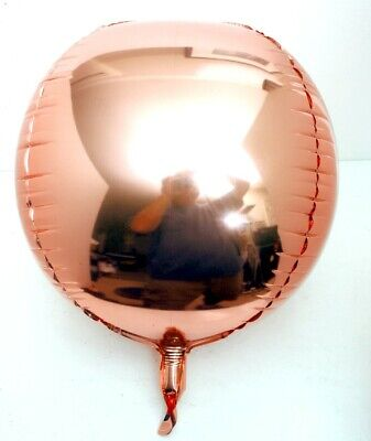10 orb Modern Party Geometric Shape Mylar Ballons, ROUNDED cube Orb Rose Gold   ](Mylar Ballon)